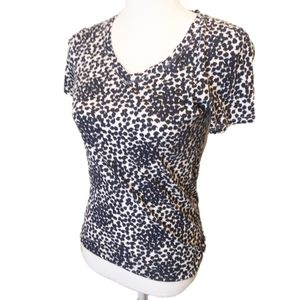 3/$20 Loft Navy Blue and White Top XS